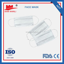 CE FDA NELSON approved blue with tie non woven 3 ply disposable face mask 20+20+25g