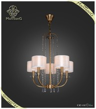 2015 new products indoor lighting fabric shades classic crystal chandelier pendant light