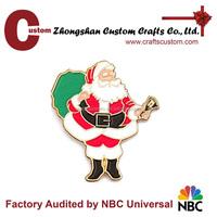 wholesale christmas decorations factory custom Santa claus lapel pin and badge