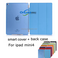 For iPad Mini 4 Smart Cover Slim-Fit Folio Smart Case Cover with back cover for Apple New iPad Mini 4 from OREYEA factory