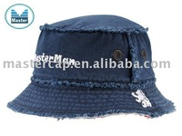 Navy Canvas cheap bucket hats with Flat Embroidery
