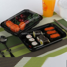 black PS plastic sushi to go box with clear lid