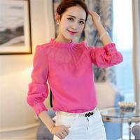 AR067 collar office ladies western chiffon blouses designs 2015