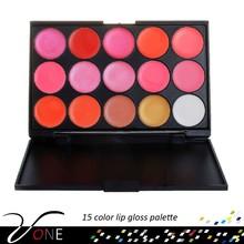 Custom lip gloss containers 15 color lipgloss palette bright lipstick