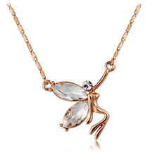 [NK015] Angel Wings pendant crystal Necklace with white crystal,gold plated