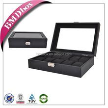 10 slots faux leather glass top wrist watch storage box