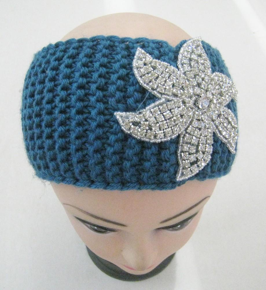 moda kadın akrilik kış tığ saç bandı taşlar