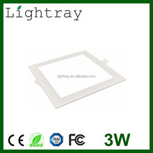 recessed ultra thin 3w led panel light square and round