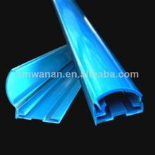 azul pvc plegable publicidad del cartel de medio círculo de plástico colgar la bandera de perfil