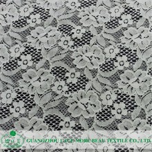 Hot sale beautiful flower white lace fabric for wedding dresses