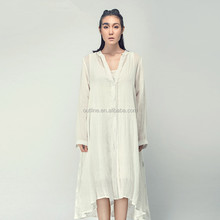 Lunkuo art to wear long sleeve deep v collar asymmetric hem embroidered white maxi cardigan with button