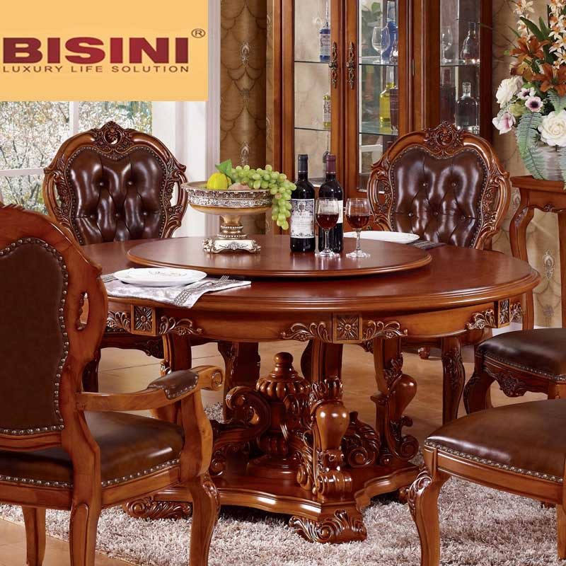 Bisini Solid Wood Round Dining Table With Lazy Susan Buy