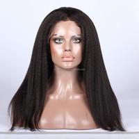 Kinky Straight Human Hair Wig Peruvian Virgin Hair Full Lace Wigs
