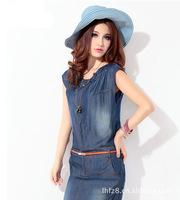 лето новые женской одежды ковбой платье для восстановления древних способов tencel джинсы платье 02