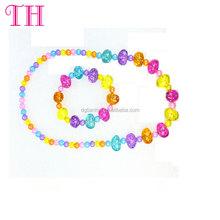 Wholesale top quality kids bead necklace bracelet jewelry set