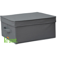 Grey Fabric Storage Box with Lid, Foldable storage case with cover, S Size