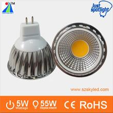 2014 hot sale GU10 or MR16 5W COB super bright led spotlight 50w halogen replacement led mr16