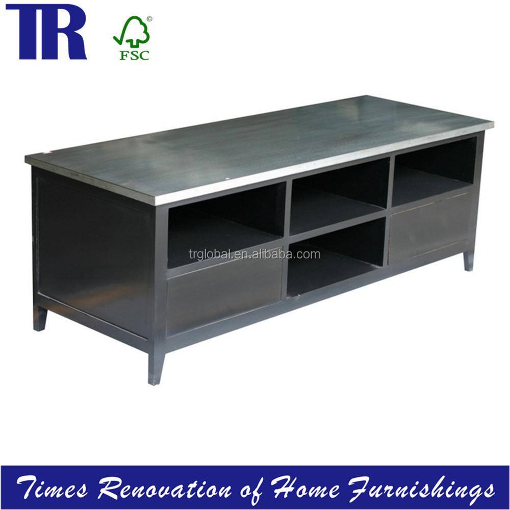 zinc top meuble tv bois massif meuble tv meubles en bois id de produit 60324146189 french