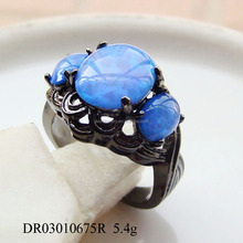 New Styles! Fine Blue Fire Opal Factory Silver Womens Black Plated Rings