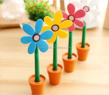 Wholesale School Supplies Promotional Ball Pens Sunflower Pen With flowerpot