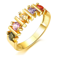 Wholesale Gift Items Promotional Jewelry Product AAA Zircon Fashion High Quality Diamond Gold Rings Plated 18K Gold Copper Ring