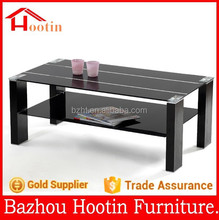 new design two layers living room furniture coffee table with glass table top and high glossy painting feet