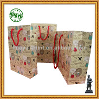 Full color art paper recyclable bag printing with red rope