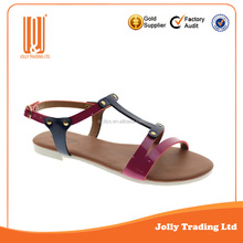 Latest design sandal fashion lady flat shoes