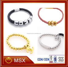 High good quality polished steel ball beads leather band jewelry hot new