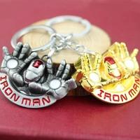 Metal Alloy Keyring 10pcs/lot Golden Color Superhero Iron man Keychain K-86