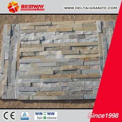 Wooden yellow slate edged stone,interior natural slate edged stone panels