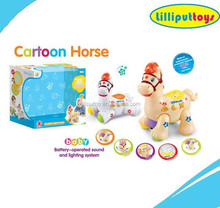 2015 New Cartoon Toys B/O Lovely Horse For Baby Learning Fun