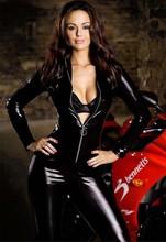 Xl XXL tallas grandes negro catsuit Sexy Racing Club Wear de látex Catsuits trajes de la ropa interior para mujeres
