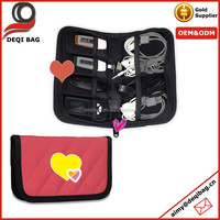 Rose Red Universal Electronics Accessories Case USB Drive Shuttle Cable Organizer Bag