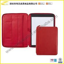 Red high quality leather portfolio with notepad Leather Executive Zip Around Padfolio Organized Professional Padfolio