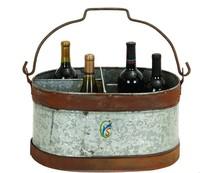 Rustic Metal Party Tub Brown Gray Ice Bucket Drink Cooler Bar Decor