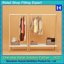 European Style Customized Floor Stand Gondola Wooden Apparel Display Stand
