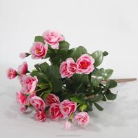 Beautiful 7 Heards Cheap Wholesale Azalea Artificial Silk Flowers bush Wedding Party Home Decoration- Pink