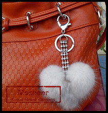 Fashion Mink fur ball keychain, sale yoga ball and leather string with ball keychain