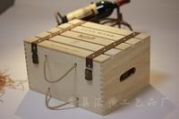 6 bottle hinged lid wine bottle carrying case