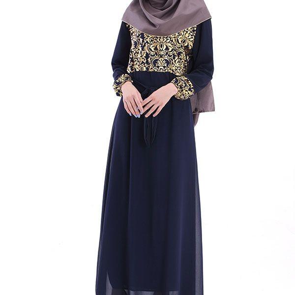 Usine Prix Caftan Abaya Jilbab Islamique Musulman Cocktail Femmes Manches Longues Maxi Robe M60011