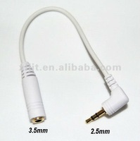 2.5 mm Male to 3.5 mm Female audio Headset RCA Adapter Cable White