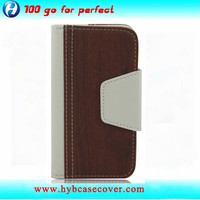 Hybrid PU Leather Wallet Flip Pouch Stand Case Cover For iphone 4S