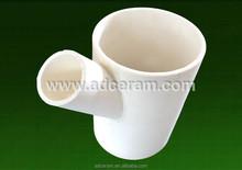 AL2O3 Alumina wear resistant alumina ceramic Lined Equal Tees
