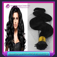 wholesale double drawn 0.5/0.7/0.9/ 1.0g/strand body wave i tip hair extension 100% Brazilian virgin hair weft