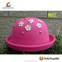 High Quality Bulk Sale Custom Made 100% Wool Felt Women Short Brim Fedora Hat Wholesale