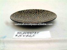 Negro ronda plato de laca con incrustaciones de cáscara de huevo para venta al por mayor- hecho en vietnam