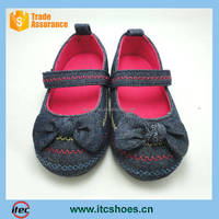 Baby Girls Denim Bowknot Soft Sole Princess Crib Shoe Toddler Jean Mary Jane Shoes Little Kid Shoes with Velcro Strap