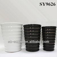 Vertical liner glazed big decoration flower pot