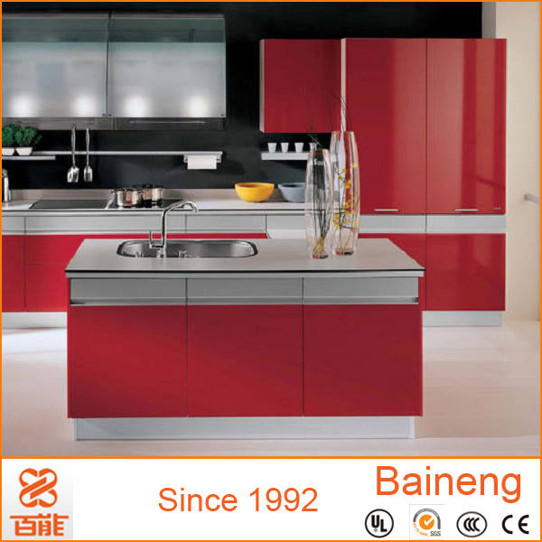 Elegent design red color cheap kitchen cabinet from china for Budget kitchen cabinets ltd